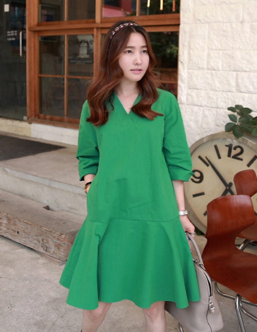 Drop Waist V-Neck Dress