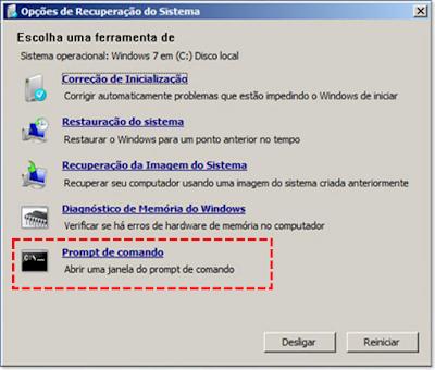 Instalação Windows 7 - Seleção de prompt de comando