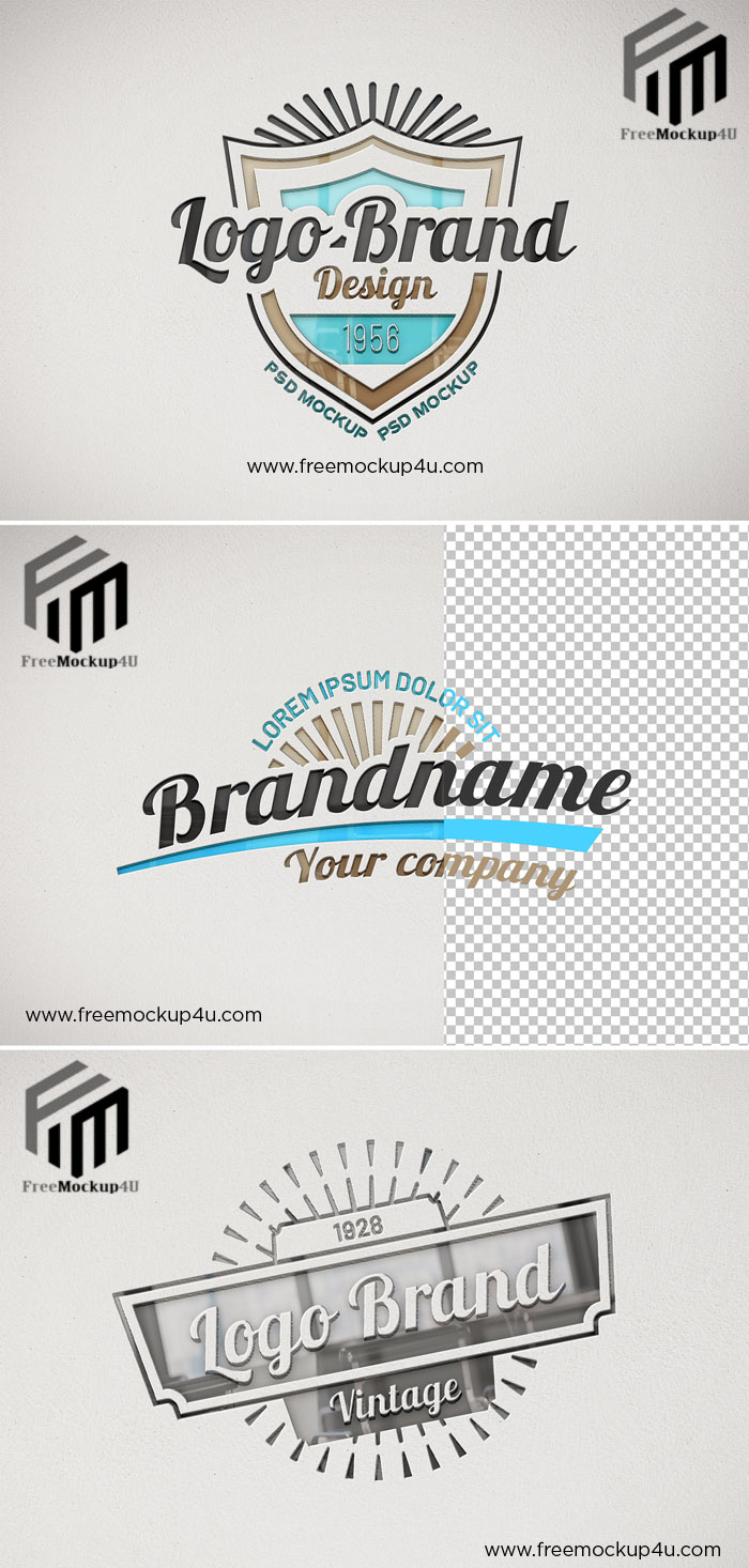 Logo Mockup on Paper Texture with Debossed Glossy Effect