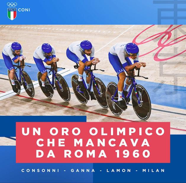 Oro e nuovo record del mondo: Consonni, Ganna, Lamon e Milan