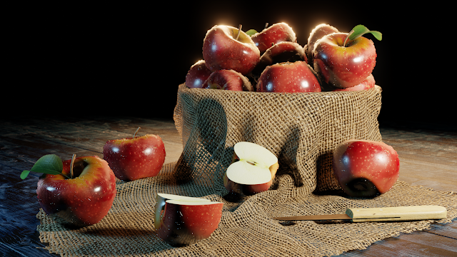 A 3D-modeled still-life composition of apples around a bowl, with one apple cut in half.