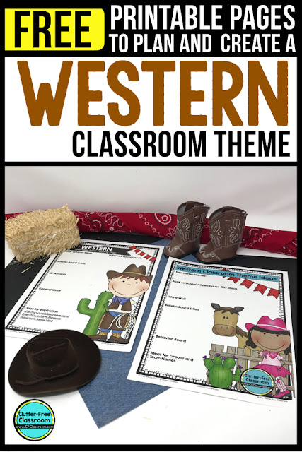 WESTERN Theme Classroom: If you're an elementary teacher who is thinking about a cowboy or cowgirl or Western theme then this classroom decor blog post is for you. It'll make decorating for back to school fun and easy. It's full of photos, tips, ideas, and free printables to plan and organize how you will set up your classroom and decorate your bulletin boards for the first day of school and beyond.