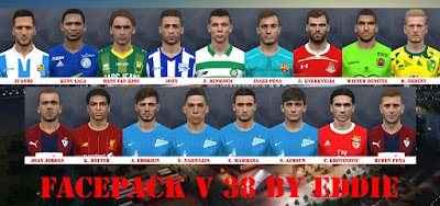 It includes some several new faces for Pro Evolution Soccer  Update, PES 2017 Facepack vol 38 by Eddie Facemaker
