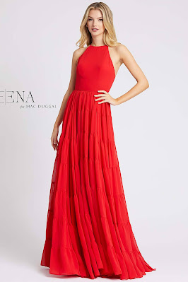 High neck evening dress Ieena For Mac Duggal red color front side
