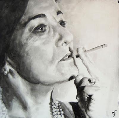 retrato en acuarela en blanco y negro de mujer fumando
