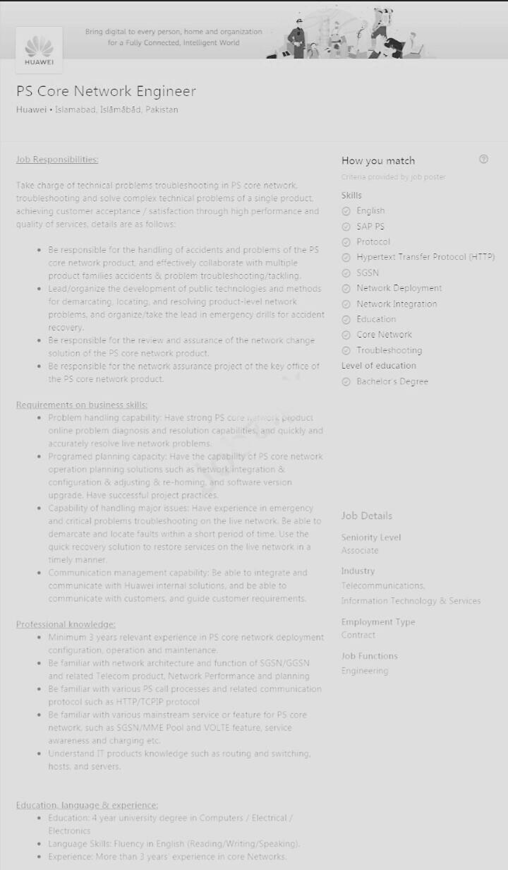 Huawei Islamabad Jobs 2020