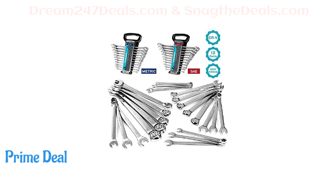 50% OFF GEARDRIVE Combination Wrench Set, Inch&Metric, 22-piece, 1/4'' to 7/8'' & 8-19mm, Chrome Vanadium Steel, with Plastic Tray