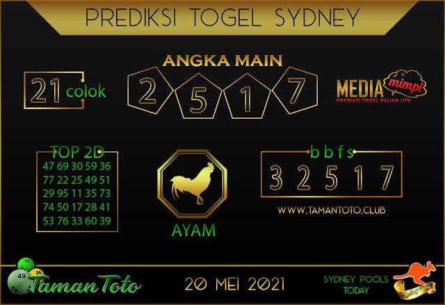 Prediksi Togel SYDNEY TAMAN TOTO 20 MEI 2021