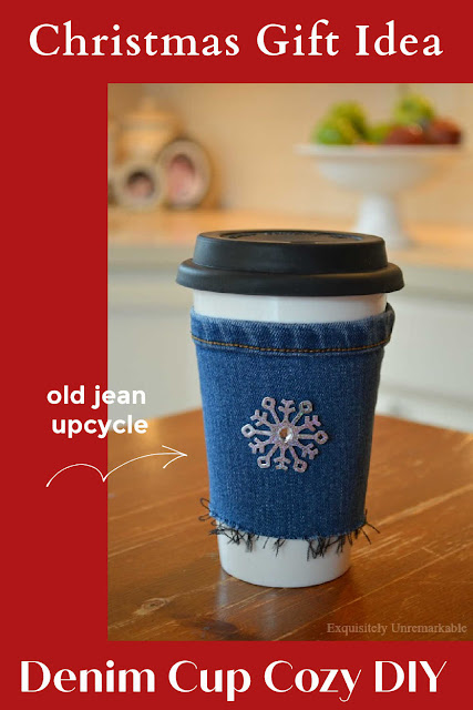 Christmas Gift Idea Denim Cup Cozy DIY Text Over Cup Cozy Photo