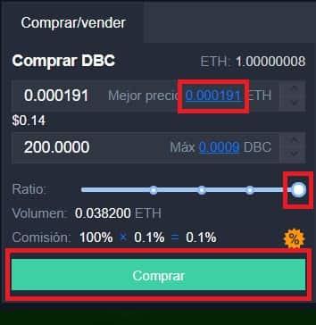 adquirir tokens de DeepBrain Chain (DBC) kucoin