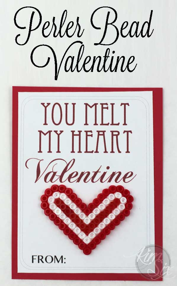 "An easy valentine idea that kids can make on their own. Perler bead ""you make my heart melt"""