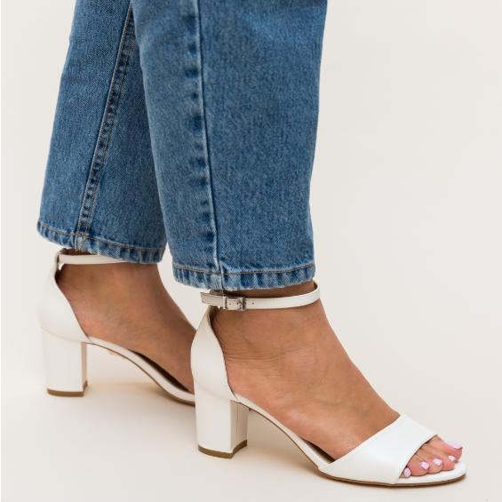 Sandale albe cu toc mediu comode de vara frumoase ieftine