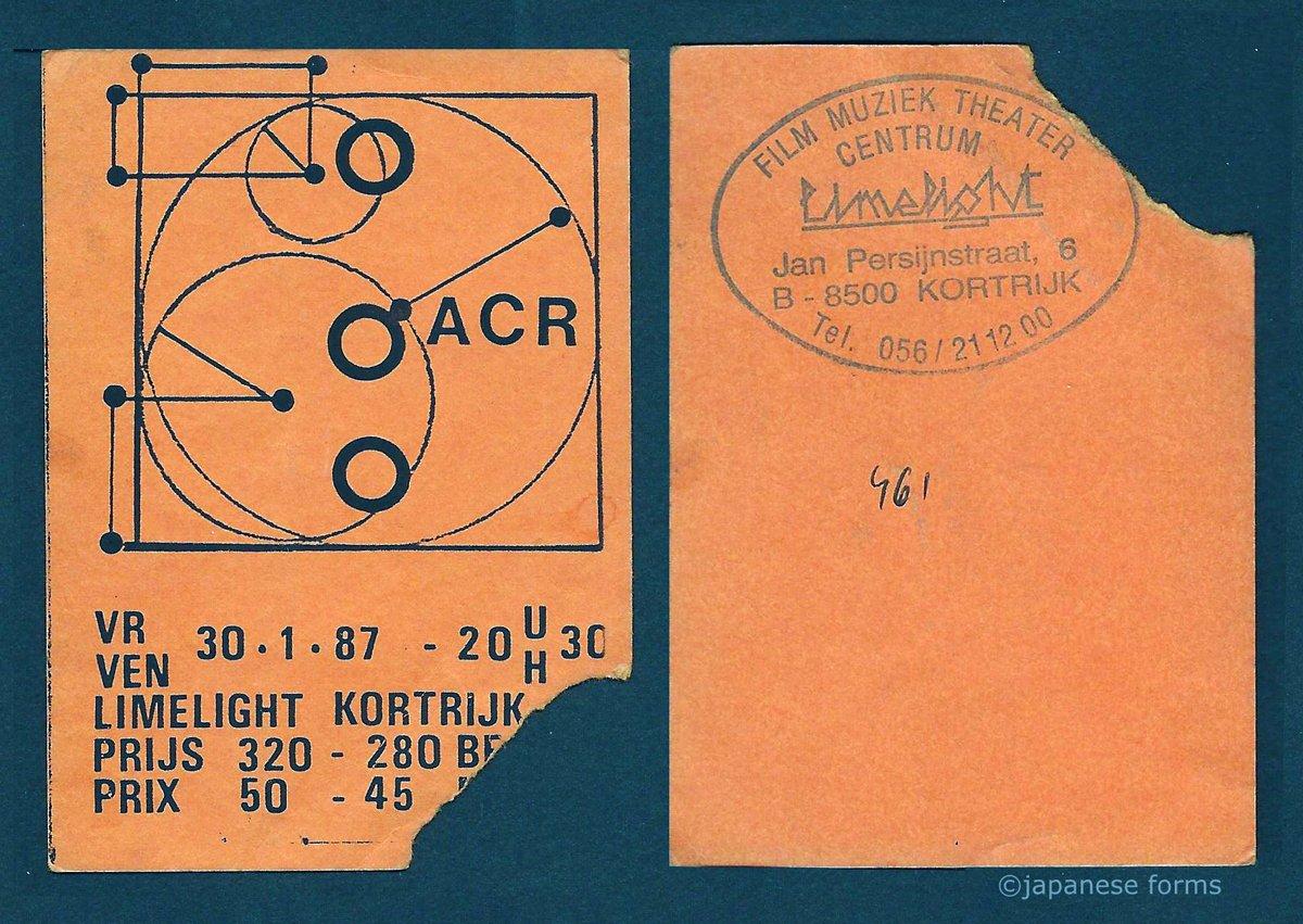 30 Jan 1987, Limelight (Film Muziek Theater Centrum), Kortrijk, Netherlands - ACR Gigography