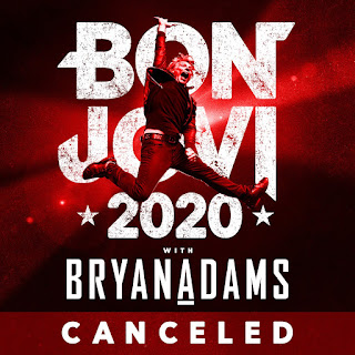 Jon Bon Jovi jumps in the air. Text reads: Bon Jovi 2020 with Bryan Adams canceled.