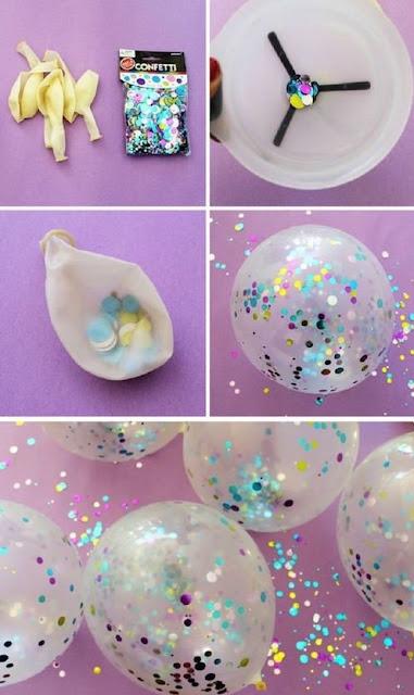 dekorasi balon ultah dengan confetti