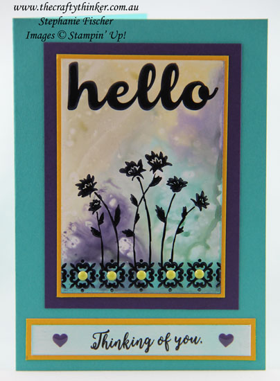Hello Friend, Inky backgrounds, Background Bits, Glossy White Cardstock, #thecraftythinker, Stampin Up Australia Demonstrator, Stephanie Fischer, Sydney NSW