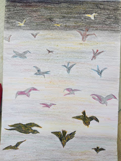 Birds flying Drawing image
