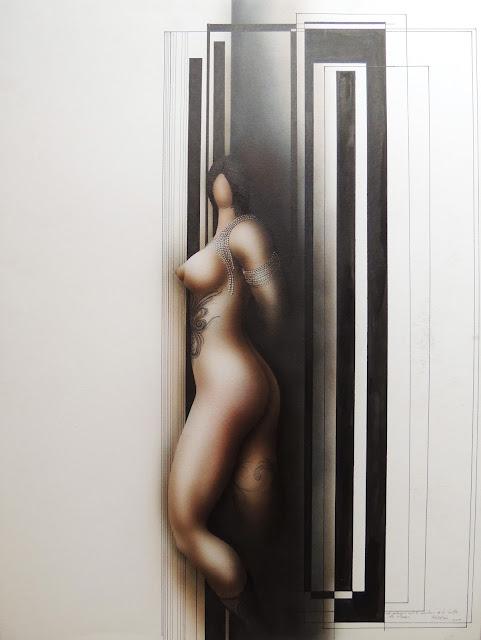 Dibujo surrealista-erótico de Modesto Roldán