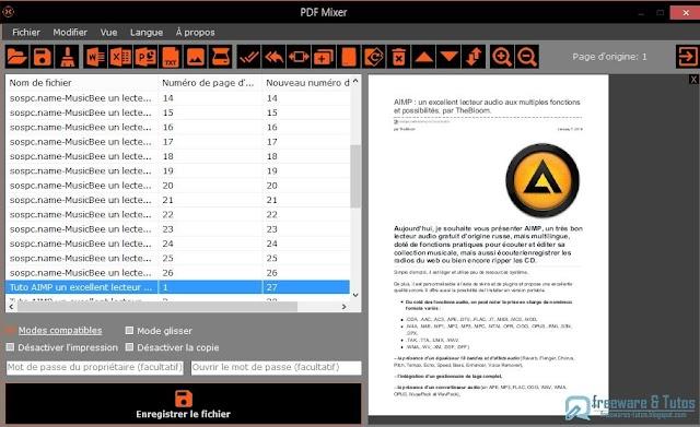 PDF Mixer : un logiciel gratuit pour organiser et mixer les fichiers PDF et leur importer des fichiers Office et des images