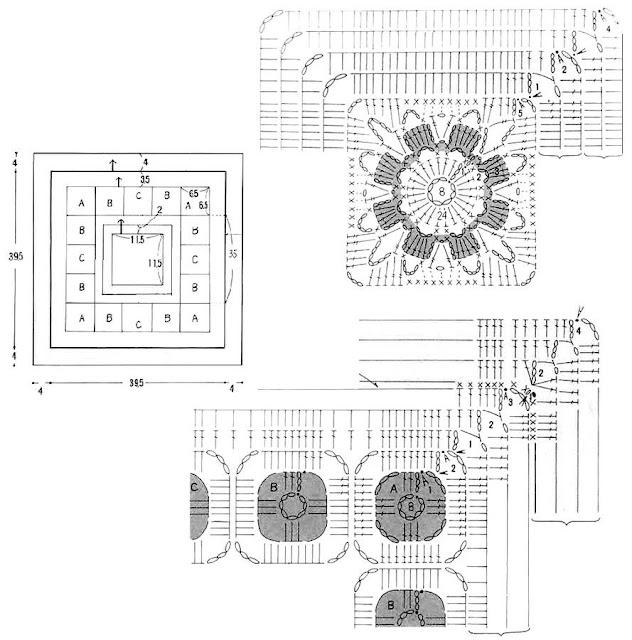 ergahandmade: Crochet Blanket And Cushion + Diagrams
