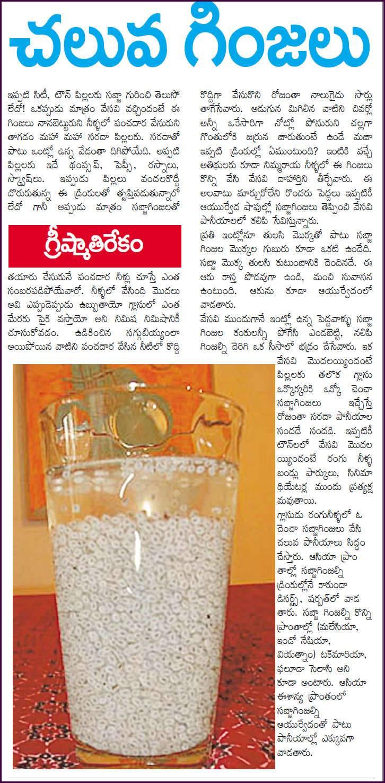Telugu Web World Summer Hot Break With Cool Barley Grains