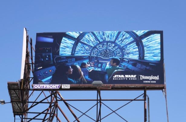 Disneyland Star Wars Galaxys Edge Millennium Falcon cockpit billboard