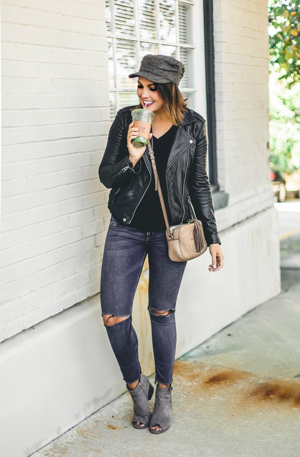 baker boy hat, leather moto, lucky brand major moto, ripped denim, fall fashion, life and messy hair, xo samantha brooke