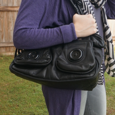 purple cardigan with striped scarf and Mimco black button bag | awayfromtheblue