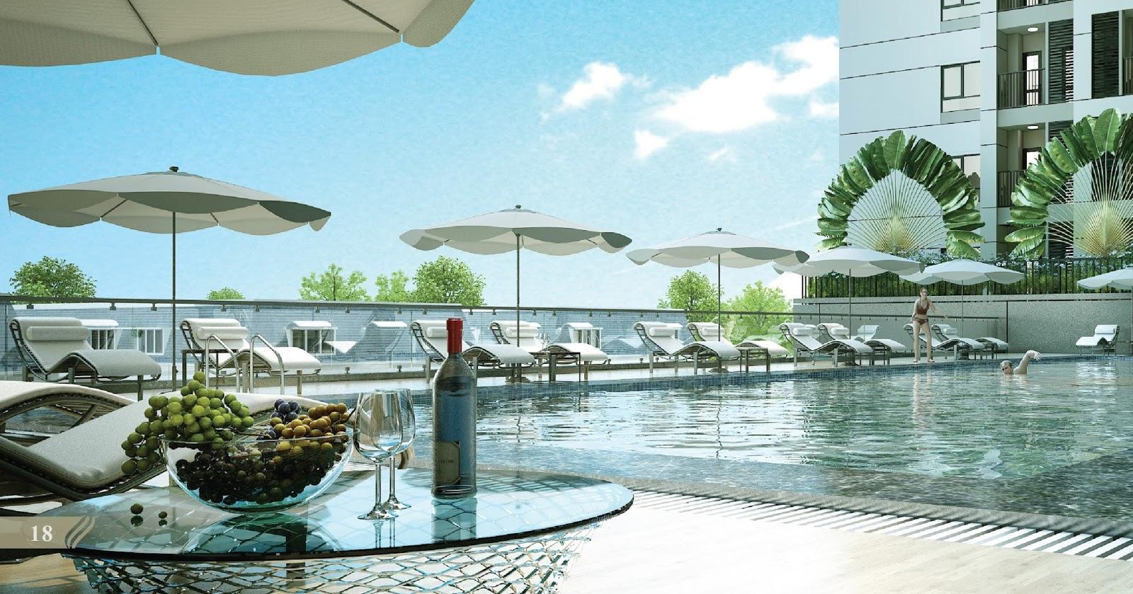 Bể bơi bốn mùa tại dự án The Emerald Mỹ Đình