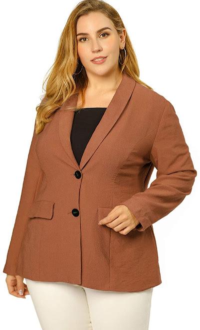 Brown Plus Size Blazers For Women