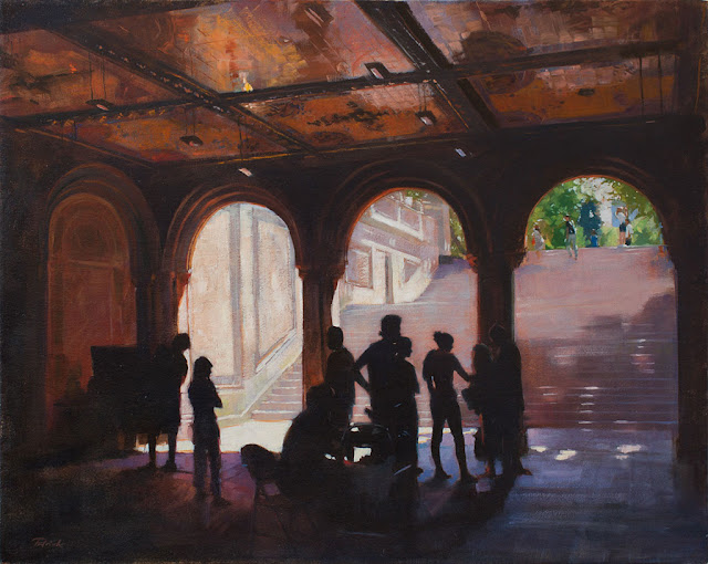 """Photo Shoot, Bethesda Arcade, Central Park"" • Oil on Canvas • 24"" x 30"" • Private Collection"
