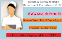 Health & Family Welfare Department Recruitment 2017 –Clinical Psychologist