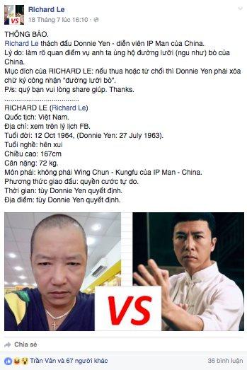 1 võ sư Việt Nam công khai thách đấu Chân Tử Đan vì 'đường lưỡi bò'