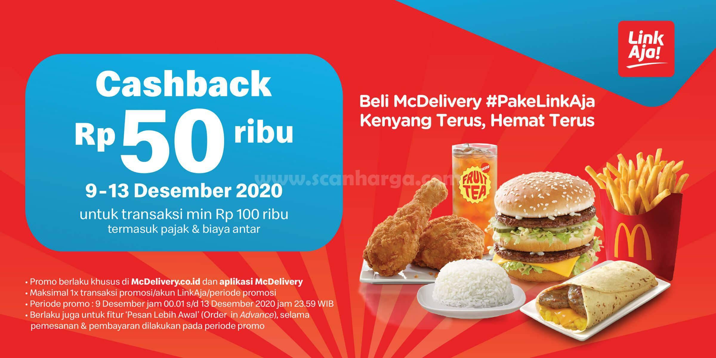McDonalds Promo Cashback 50% dengan LinkAja [9 - 13 Desember 2020]