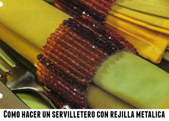 servilletero rejilla metálica, manualidades