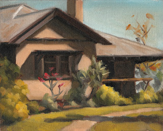 Landscape oil painting of a house with trees and shrubs.