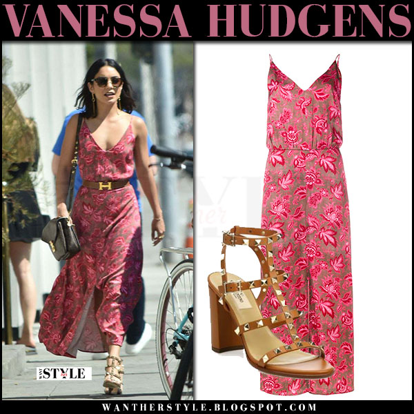 Vanessa Hudgens in pink floral slip zimmermann dress and brown studded sandals valentino what she wore