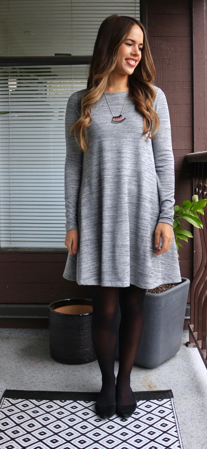 Jules in Flats - Old Navy Swing Dress + Tights for Work