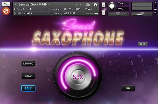 Interface da library Sensual Saxophone - Embertone (KONTAKT)