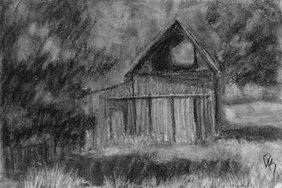 kamas barn utah charcoal sketch rural landscape
