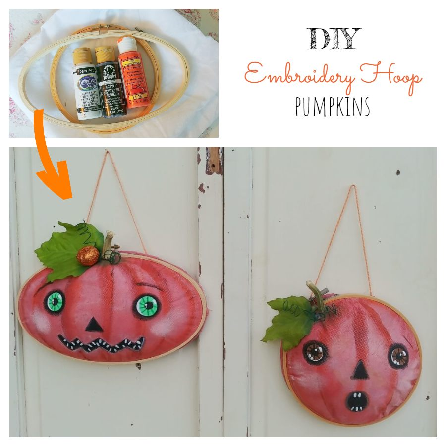 DIY Embroidery Hoop Pumpkins - 7 Days of Thrift Shop Flips