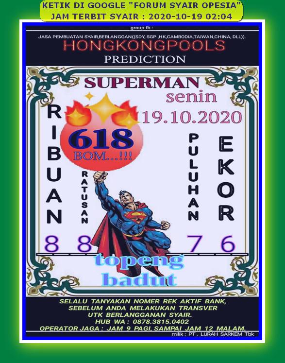 Kode syair Hongkong senin 19 oktober 2020 124