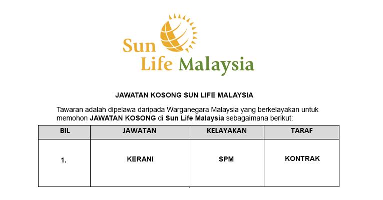 Sun Life Malaysia Assurance Berhad [ Kerani Diperlukan ]