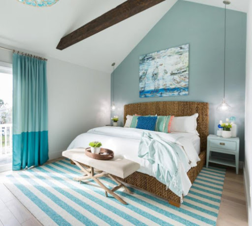 Aqua Blue White Striped Area Rug Bedroom