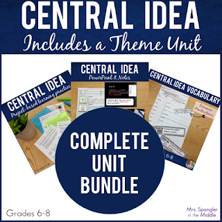 Everything you need to teach Central Idea and Theme is in this Bundle: Vocabulary worksheet, word wall cards, vocabulary practice, PowerPoint, Pixanotes® (structured picture notes), task cards to practice, a quiz, reteaching materials, and enrichment materials.  Middle School students will learn how to determine central idea in 4 steps and then have an opportunity to practice with new text.  All materials are designed to teach CCRA.R.2: Determine central ideas or themes of a text and analyze their development; summarize the key supporting details and ideas.