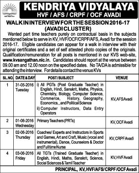KENDRIYA VIDYALAYA RECRUITMENT 2016| POST OF PGT,BT,SGT | AVADI CLUSTER | WALKIN INTERVIEW FOR THE SESSION 2016-2017 | FROM 31.05.2016 TO 03.06.2016 | FULL DETAILS