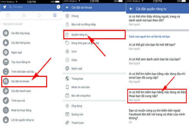 chặn tìm kiếm facebook bằng số điện thoại 2