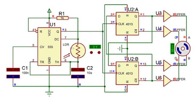 Implementasi Sensor LDR dengan Motor Stepper