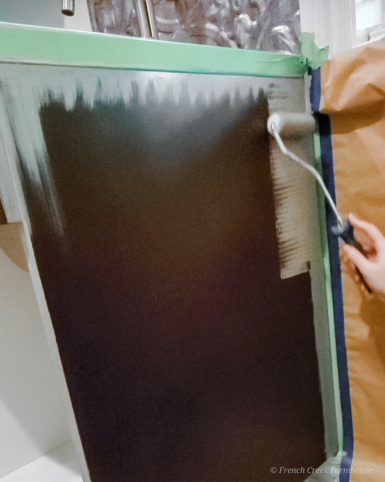 Painting the utility sink cabinet