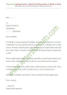 sample apology letter for sleeping